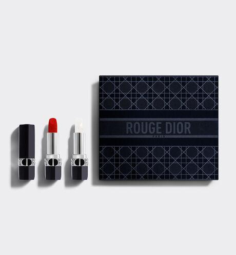 Dior - Дуэт Помад Коллекции Rouge Dior Роскошная Коллекция— 1 Помада и 1Бальзам для Губ— Цвет От-Кутюр и Цветочный Уход