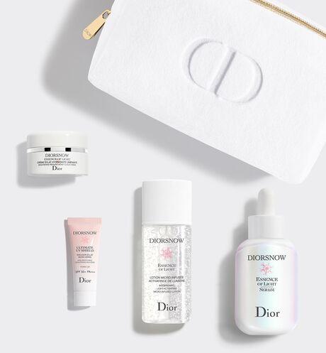 Dior - 雪晶靈極亮光采精華組–繁花幻境版 Dior限量保養禮盒,內含 4 款淨白保養品 & dior化妝包–雪晶靈透亮光采水凝露、雪晶靈極亮光采精華、雪晶靈透亮輕凝霜、雪晶靈潤色隔離亮妍霜